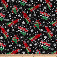 Timeless Treasures Let It Snow Tossed Red Christmas Trucks Black