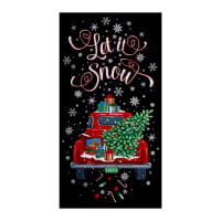 "Timeless Treasures Let It Snow 24"" Red Truck Christmas Panel Black"