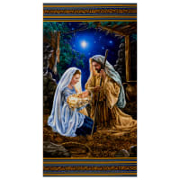 "Timeless Treasures Digital Glory 24"" Nativity Panel Multi"