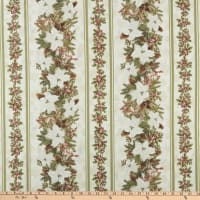 Timeless Treasures Metallic A Very Merry Christmas Poinsettia Stripe Cream