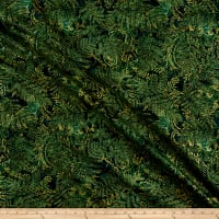 Timeless Treasures Metallic Merry & Bright Ferns Green