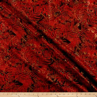 Timeless Treasures Metallic Merry & Bright Ferns Red