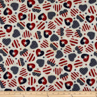 Timeless Treasures Stars & Stripes American Flag Hearts Cream