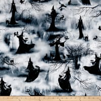 Timeless Treasures Wicked Fog Spooky Witch Grey