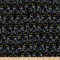 Timeless Treasures Glow In The Dark Star & Moon Cats Black