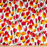 Telio Bloom Stretch Cotton Sateen Tulip White Pink Orange
