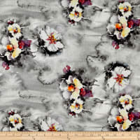 Telio Digital Linen Watercolor Peony Grey