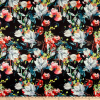 Telio Digital Stretch Scuba Floral Print Black Multi