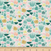 Cloud9 Fabrics Organic Ethereal Jungle Jungle Floor Green/Pink Multi