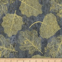 Hoffman Metallic Harvest Homecoming Leaves Slate/Gold