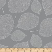 Hoffman Metallic Sparkle & Fade Large Leaves Pewter/Silver