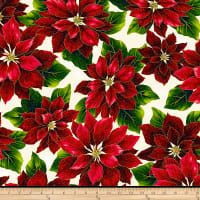 Hoffman Metallic Poised Poinsettia Large Poinsettia Natural/Gold