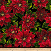 Hoffman Metallic Poised Poinsettia Large Poinsettia Black/Gold