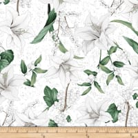 Hoffman Metallic Winter Blooms Lily White/Silver