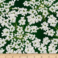 Hoffman Metallic Winter Blooms Gypsophila Evergreen/Silver