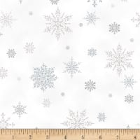 Hoffman Metallic A Winter's Sky Snowflakes Frost/Silver