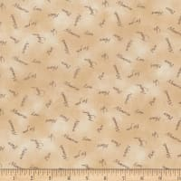 Stoffabric Denmark Quilters Basic Dusty Word Print Tan