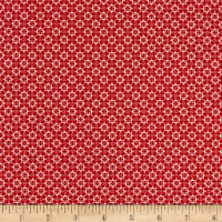 Stoffabric Denmark Quilters Basic Memory Quadrafoil Red/White