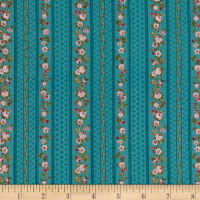 Stoffabric Denmark Juliet Roses Border Stripes With Roses Turquoise