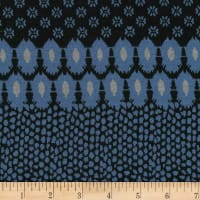 Stoffabric Denmark Avalana Jacquard Knit Different Horizontal Patterns Blue