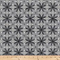Stoffabric Denmark Vilma Graphic Flowers Grey