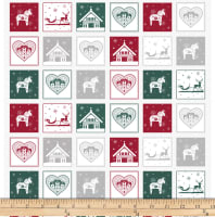 """Stoffabric Denmark Nordic Hygge Christmas 21"""" panel Motifs 6"""" Squares Red/Green/Grey"""