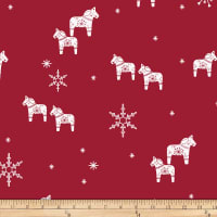 Stoffabric Denmark Nordic Hygge Horses & Snowflakes Red
