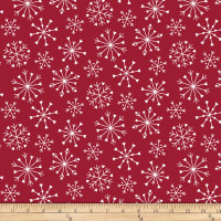 Stoffabric Denmark Nordic Hygge White Snow Crystals Red