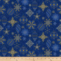 Stoffabric Denmark Sparkle Metallic Christmas Ornaments and Snowflakes Blue