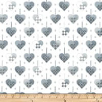 Stoffabric Denmark Christmas Wonders Braided Metallic Hearts White