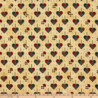 Stoffabric Denmark Christmas Wonders Braided Metallic Hearts Beige