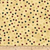 Stoffabric Denmark Christmas Wonders Small Hearts Gold Metallic Beige