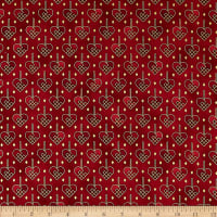 Stoffabric Denmark Christmas Wonders Braided Metallic Hearts Red