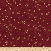 Stoffabric Denmark Christmas Wonders Metallic Stars Red