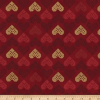 Stoffabric Denmark Christmas Wonders Embroidered Metallic Hearts Red