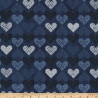 Stoffabric Denmark Christmas Wonders Embroidered Hearts Metallic/Blue