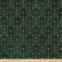 Stoffabric Denmark Christmas Wonders Braided Hearts Metallic/Green