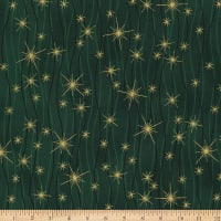 Stoffabric Denmark Christmas Wonders Lines with Gold Metallic Stars Green