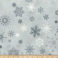 Stoffabric Denmark Christmas Wonders Snowflakes Light Grey & Silver Metallic