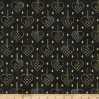 Stoffabric Denmark Christmas Wonders Braided Metallic Hearts Grey
