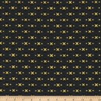 Stoffabric Denmark Christmas Wonders Small Metallic Stars Black