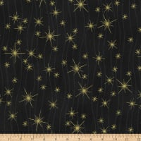 Stoffabric Denmark Christmas Wonders Lines Metallic Stars Black