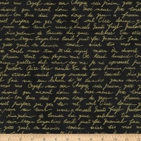 Stoffabric Denmark Christmas Wonders Writing in Gold Metallic Black