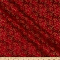 Wind Song  Flowers with Metallic on Tonal Red