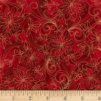 Noel  Etched Poinsettia Metallic Red