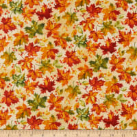 Northcott Country Pastime Leaf Toss Beige Multi