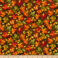 Northcott Country Pastime Leaf Toss Brown Multi