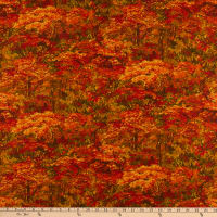 Northcott Country Pastime Autumn Forest Red
