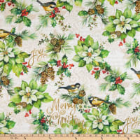 Northcott Deck the Halls Poinsettia with Birds Cream
