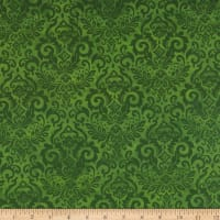 Northcott Deck the Halls Damask Green